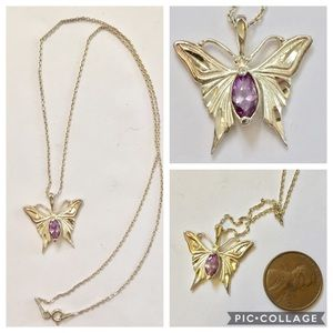 Sterling silver amethyst butterfly necklace 925